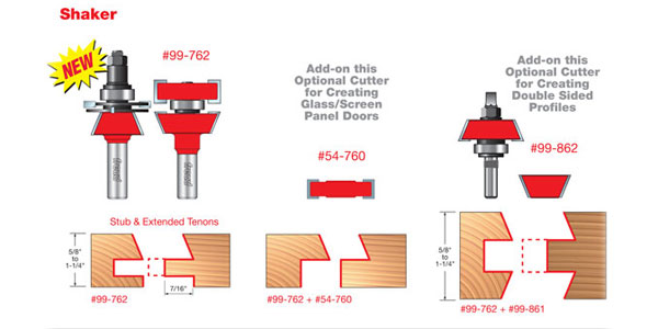 Freud # 99-762 Premier Adjustable Skaker Style Rail \u0026 Stile Bits